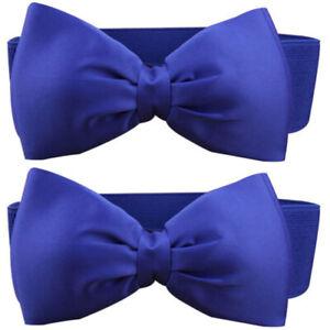 Fashion Women Lace Bowknot Buckle Waistband Waist Belt Elastic Bow Wide Stretch