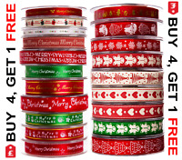 Full Reel CHRISTMAS RIBBON Natural Grosgrain & Satin 20 Mtrs 34 Different Design