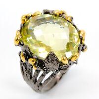 Natural Lemon Quartz 925 Sterling Silver Ring Size 7/RS18-0088