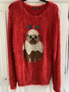 Ladies Red Christmas Pug Pudding Jumper Fluffy Size 12 Used