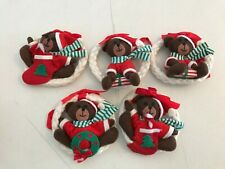 LOT 5 RUSS PLUSH STUFFED BEAR CHRISTMAS WREATH ORNAMENTS