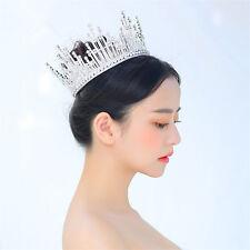 Bridal Queen Full Crown Tall Tiara Wedding Rhinestone Hair Accessories Jewelry