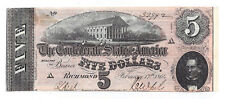 T-69 Pf-9 Cr-563 1864 Confederate States of America $5 Note No.33992
