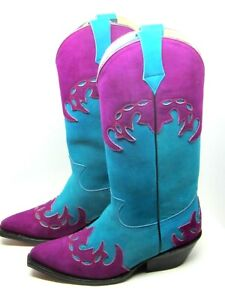 Women's Cowboy Boots Turquoise / Purple Suede Size 8 Maraschino Vintage 90's