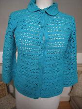 Vintage Retro Algodón Encaje Crochet Top Cardigan Azul Brillante Turquesa camisas S