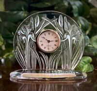 Authentic Lalique Frosted and Clear Crystal Iris Clock in Excellent Condition
