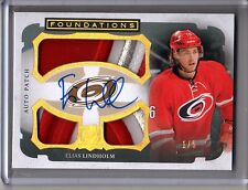 2013-14 UD THE CUP ELIAS LINDHOLM 3 CLR JUMBO LOGO PATCH ROOKIE AUTO SP #1/5!!