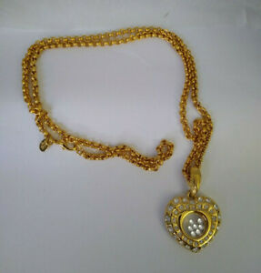 """Nolan Miller Heart Necklace with Floating Crystals Gold Tone 28"""" Chain"""