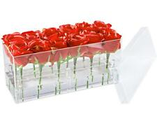 Flower Box Water Holder, Acrylic Rose Pots Stand - Decorative Square Vase with