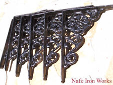 SIX Cast Iron Wall Shelf Brackets, Braces, Black, Small