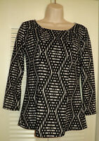 Paper Moon Stitch Fix Womens 3/4 Sleeve Black White Geometric Top Shirt Blouse S
