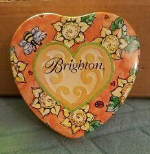 "Collectible BRIGHTON Tin 3-1/2"" Heart Shaped Floral Design"