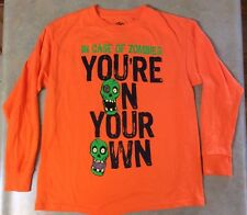 Boys Hybrid YL Youth Large In Case Of Zombies Your On Your Own Orange T-Shirt