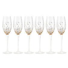 Sektgläser Set 6 tlg. Glas 25 cm Tupfen Goldfarben / Gläser, Silvester