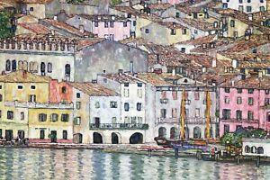 Lake Garda gustav klimt the kiss adele canvas print painting art vintage