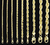10k Gold Rope Chain 2 - 8 mm 16 Inch-30 Inch men women Necklace Diamond cut REAL