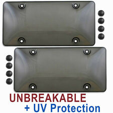 TWO TINTED LICENSE PLATE COVERS tag holder frames black dark smoke shields 2 sbr
