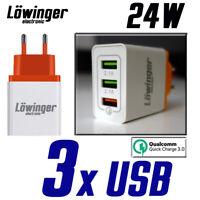 Löwinger 3-Port USB Ladegerät Netzteil Ladeadapter 24W Fast Charge QuickCharge 3