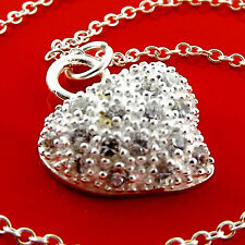 NECKLACE CHAIN 925 STERLING SILVER S/F DIAMOND SIMULATED HEART PENDANT FS3A976