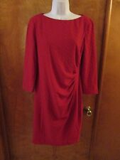"Ladies ""Chaps"" Size 14, Red, Side Pleated, 3/4 Sleeve, Sheath Dress"