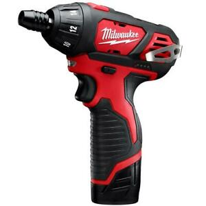 Milwaukee 2401-22 M12 12V 1/4-Inch Hex Screwdriver w/ Batteries