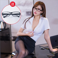 Fancy Dress Women Sexy Secretary Outfit Office Uniform Cosplay Costume Roleplay