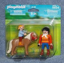 PLAYMOBIL HORSE, RIDER & GROOMER FIGURE SET #5934