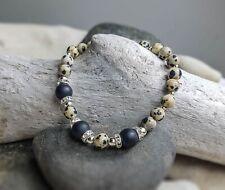Dalmation Jasper and Black Agate Stone Gemstone Bead Bracelet for Women, Men