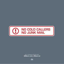 SKU044 No Junk Mail - No Cold Caller - Front Door Letter Box Sign / Sticker