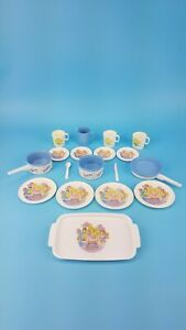 80s Mattel Barbie Birthday Party Plastic Dishes Tea Set Pretend Play 18 Pcs GUC