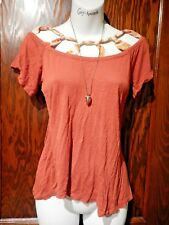 YOANA BARASCHI burnt orange rust knotted tied cage boatneck tee shirt top S 3B