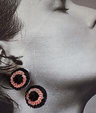 ORECCHINI A CLIP TONDI PAILLETTES NERE ROSA ANNI 80 vintage earrings J21