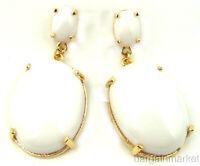 White Lucite Drop Dangle Light Weight Dangle Earrings
