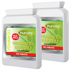 Vitamin D3 x2 Bottles MEGA Strength 5000IU 300 Tablets Teeth Bones Immune UK