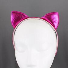 PInk shiny cat ears headband shine lamé kitten hair band cosplay cats ear