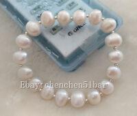 kultivierte 10-11mm weiße barocke Frischwasserperle elastisches Armband 7,5 Zoll