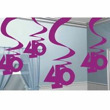 5pk Pink Party 40 Hanging Swirl Decoration Birthday