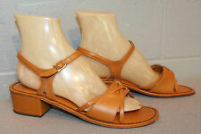 8.5 B NOS Vtg 70s Open Toe Strappy Sandal Gold Brown Leather Chunky Lo Heel Shoe