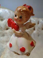 Vintage Lefton Valentine Angel holding Hearts figurine #7699