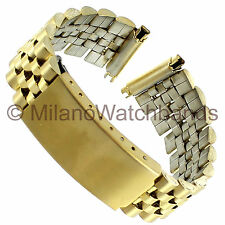 16-20mm Timex Metal Gold Tone Stainless Center Clasp Mens Watch Band Long TX122Y