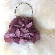 Purple Satin Petal Textured Evening Bag Silver Circle Handle & Shoulder Chain