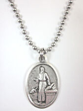 "St Luke the Apostle Medal Pendant Necklace 24"" Ball Chain Gift Box Prayer Card"