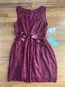 NWT! Women's SIMPLY LILIANA Chianti Cranberry Lace Dress Size 8 Style 062893300