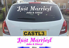 Wedding Just Married Sticker Banner for Car WIndow. Many Colours Available