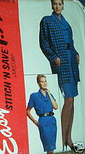 Cowl neck top suit skirt pattern jacket size 8 10 12 14