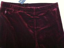 Ralph Lauren Girls Leggings Solid Burgundy Stretch Velvet Size 3T NWT