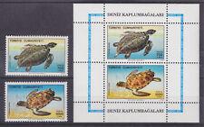 Turkey Sc 2456-2457a MNH. 1989 Sea Turtles + S/S