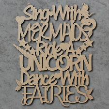 Sing With Mermaids (Unicorns & Fairies) Sign - Summer Laser Cut Craft Sign
