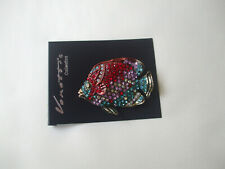 Beautiful Fish Brooch Red, Turquoise & AB Crystal Stones New
