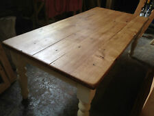 HANDMADE BESPOKE DISTRESSED OAK TOPPED DINING TABLE with PINE BASE